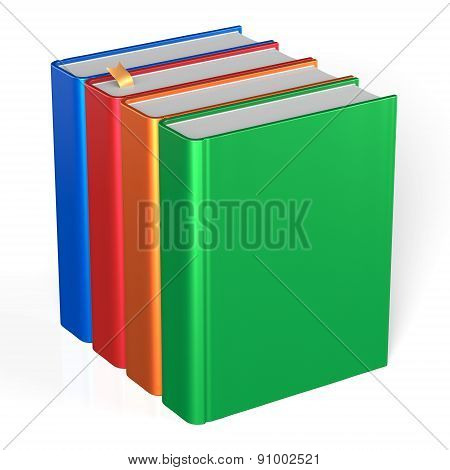 Four Books Educational Textbooks Blank Bookshelf Colorful