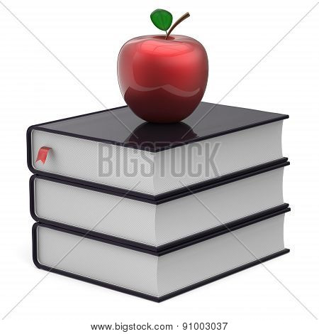 Books Apple Black Red Index Textbooks Stack Education Icon