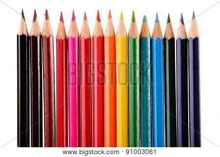 Composition With Colorful Crayons Isolated On White