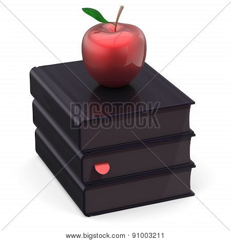 Black Books Red Apple Index Textbooks Stack Education Icon