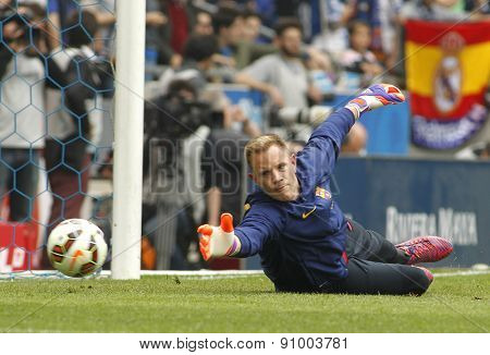 BARCELONA - APRIL, 25: Marc-Andre ter Stegen of FC Barcelona before a Spanish League match against RCD Espanyol at the Power8 stadium on April 25, 2015 in Barcelona, Spain