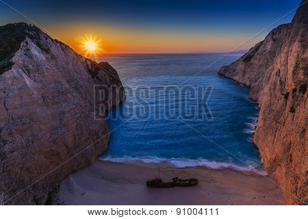 Shipwreck bay, Navagio, sunset - Zakynthos, Greece - The world famous, amazing beach