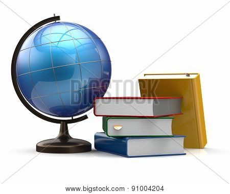 Globe Blank And Colorful Books Global Geography Knowledge