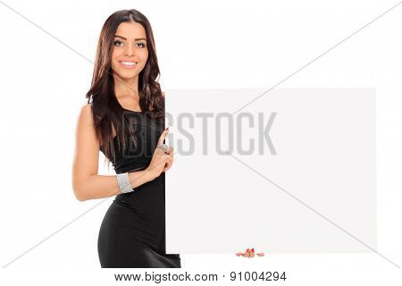 Fashionable woman holding a blank signboard isolated on white background