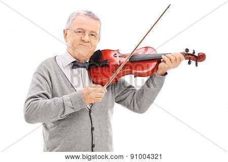 Senior musician playing a violin with a wand isolated on white background