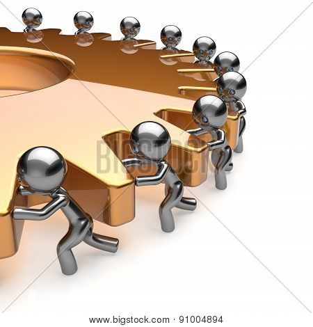 Team Work Partnership Business Men Turning Golden Gear