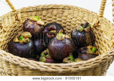 Colorful Mangosteen And Fresh Mangosteen In Basket