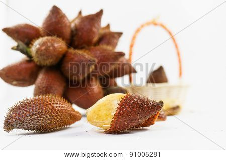 Peeled Salacca With Bunch Salacca, Salak Fruit