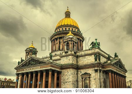 Retro Style Image Of Saint Isaac's Cathedral In Saint Petersburg, Russia