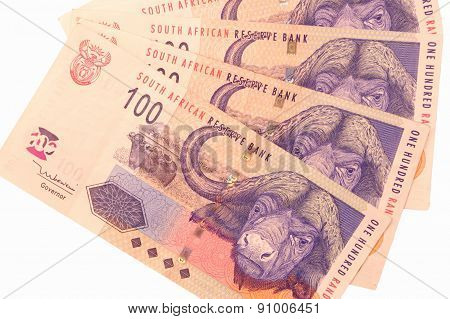 Four one hundred rand banknotes