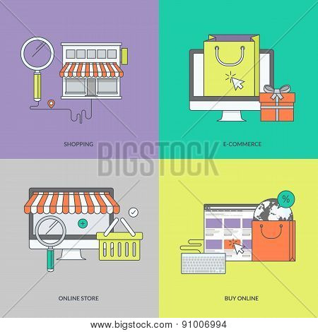 Set of color line icons on the theme of online shopping