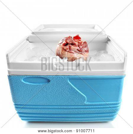 Heart organ in fridge on light background