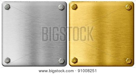 silver and gold metal plates with clipping path included
