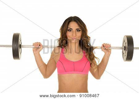 Woman Fitness Pink Bra Bar Behind Head