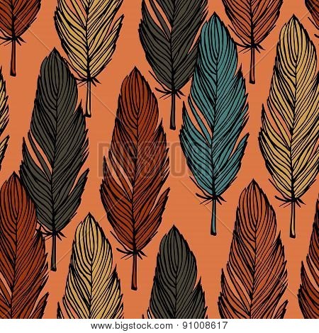 Feather Colorful Seamless Pattern