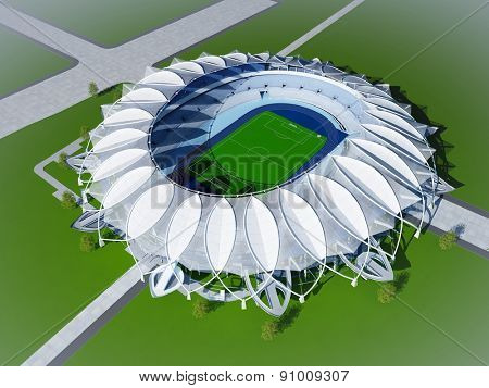 Stadium on a green background.