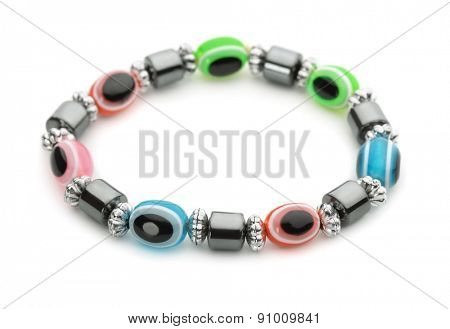Colorful glass bracelet isolated on white