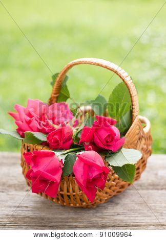 Beautiful roses in the basket