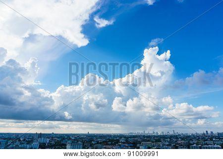 Big Skies Over Cityscape In Bangkok Thailand
