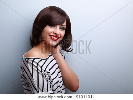 Beautiful Smiling Young Woman With Short Hair Style