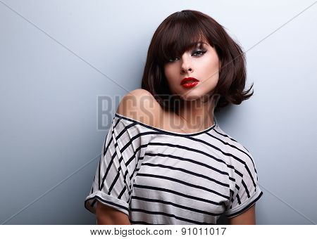 Sexy Makeup Short Hair Woman In Casual Clothes Posing