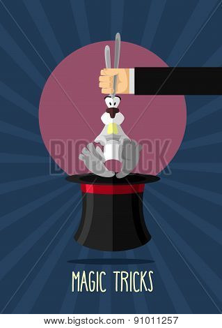 Magic trick. Magician holding rabbit by ears. Rabbit in hat magician. Poster for circus performances