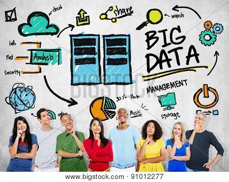 Multi Ethnic Group Big Data Imagination Concept