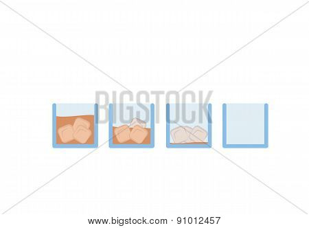 Vector Set of brown whiskey alcohol drink in glass with ice cube
