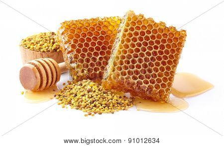 Honeycombs with pollen on a white background