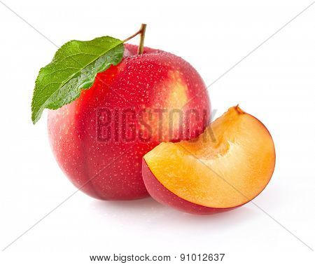 Red plums with drop water
