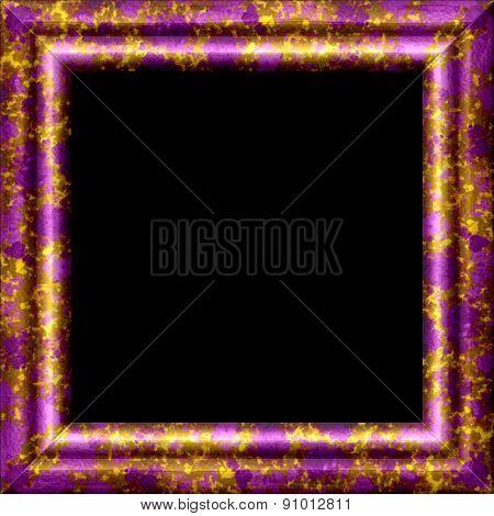 Purple Metal Or Wooden Ornamental Frame With Golden Splash