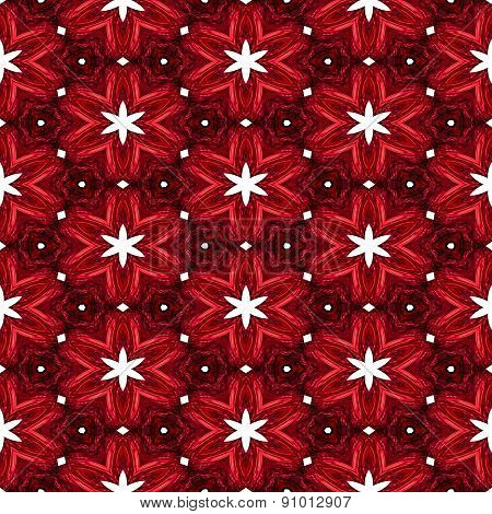 Abstract Red Texture Or Background With White Stars With Christmas Look Made Seamless