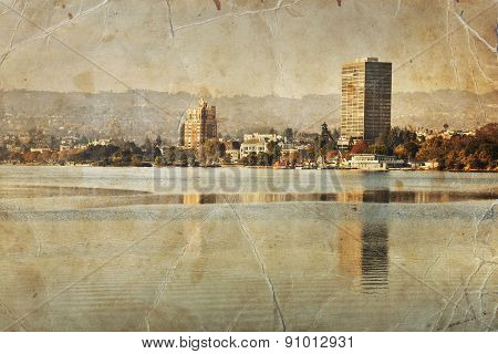 Oakland retro photograph, Lake Merritt landscape