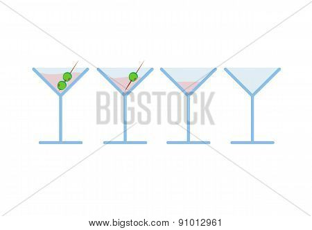 Set of light pink martini alcohol coctail drink with olive on toothpick in phases from full to empty
