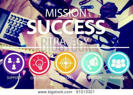 Mission Success Strategy Achievement Strategy Concept
