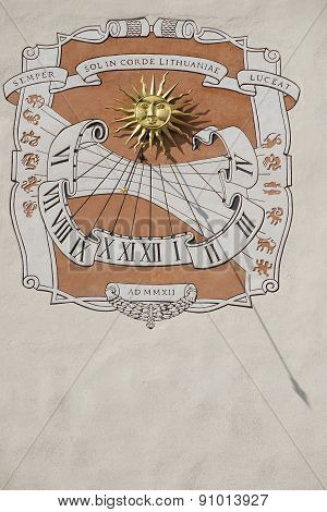 Sundial on the wall of the Grand Duke's palace in Vilnius, Lithuania.