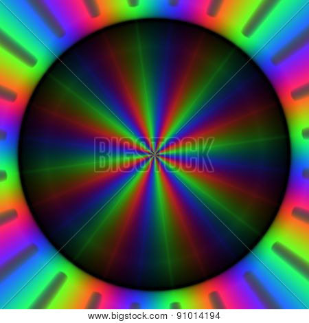 Colorful Rgb Rays Of Lights In Circular Pattern