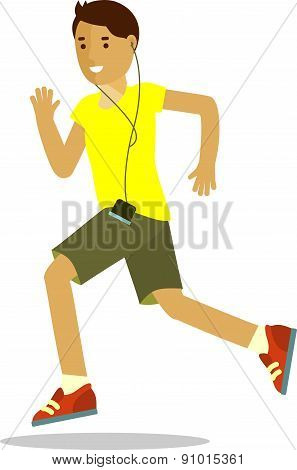 Running man in flat style isolated on white background