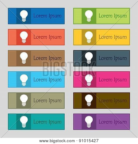 Light Lamp, Idea  Icon Sign. Set Of Twelve Rectangular, Colorful, Beautiful, High-quality Buttons
