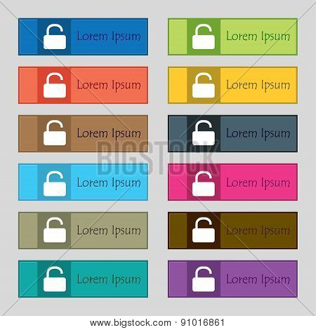 Open Padlock  Icon Sign. Set Of Twelve Rectangular, Colorful, Beautiful, High-quality Buttons For Th