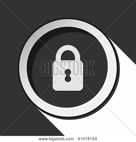 Black Icon With Closed Padlock And Stylized Shadow