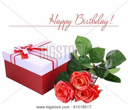 Beautiful gift box with flowers isolated on white