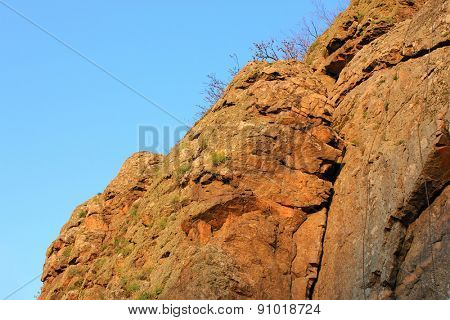 Hill and Blue sky background with clouds