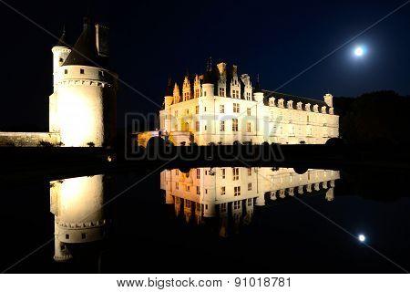 Grand Chateau de Chenonceau at night, Loire, France