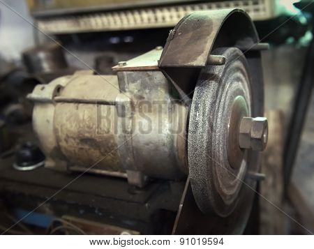 Old Electric Grindstone Closeup