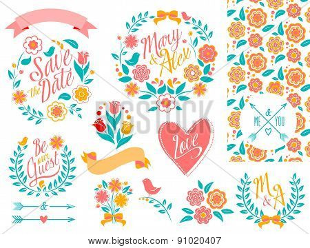 BIG Wedding graphic set, arrows, hearts, laurel, wreaths, ribbons and labels.