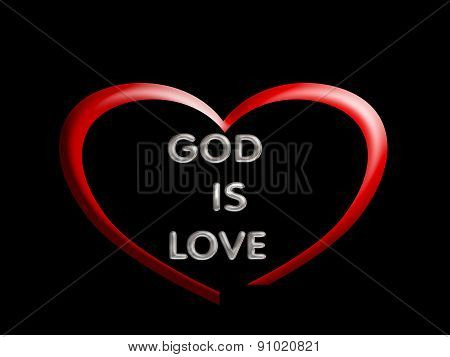 God is love, symbol with heart