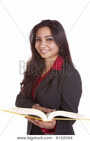 Girl With Book Looking Smiling