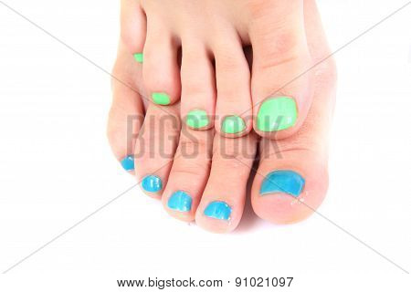 Woman Feets And Colors