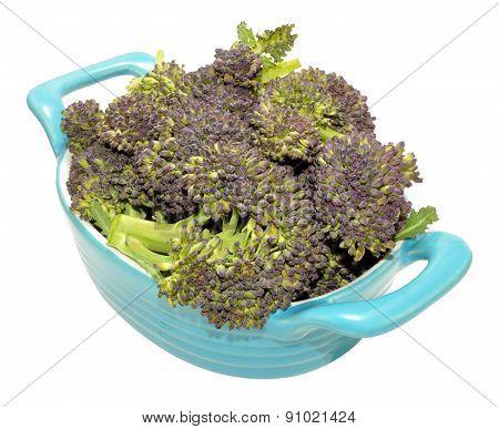 Dish Of Purple Headed Broccoli